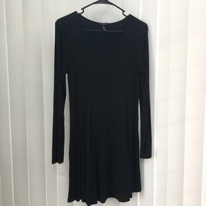 Black Ribbed Swing Dress Size M